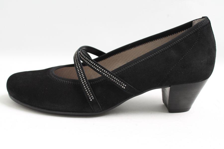 gabor pumps schwarz nubuk leder weite g riemchen ebay. Black Bedroom Furniture Sets. Home Design Ideas